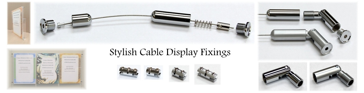 Cable display system metal fixings including cable kits - wall fixings & panel clamps