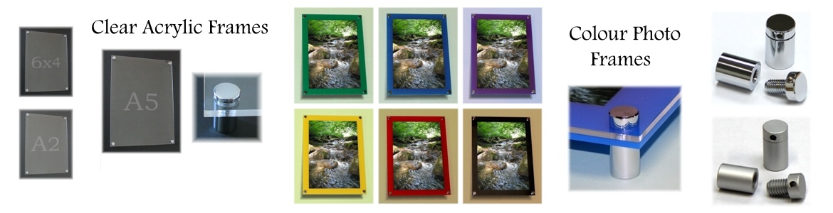 Wall mounted acrylic panel photo and poster frames using stand-off metal fixings