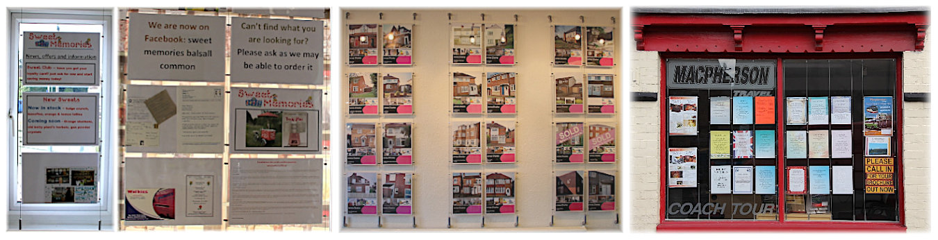 Wire suspended poster holder displays in shop windows and mounted to interior walls