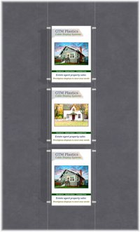 Hanging poster display kits - single width portrait pocket style - Layout: 1x3 assembled between cable wires