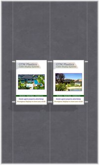 Hanging poster display kits - single width portrait pocket style - Layout: 2x1 assembled between cable wires