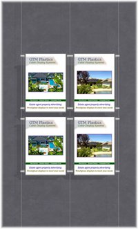 Hanging poster display kits - single width portrait pocket style - Layout: 2x2 assembled between cable wires