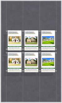 Hanging poster display kits - single width portrait pocket style - Layout: 3x2 assembled between cable wires