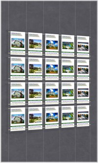 Hanging poster display kits - single width portrait pocket style - Layout: 5x4 assembled between cable wires