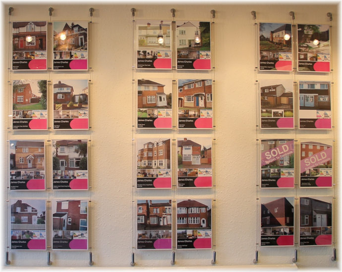 Estate agent wall mounted poster display kits