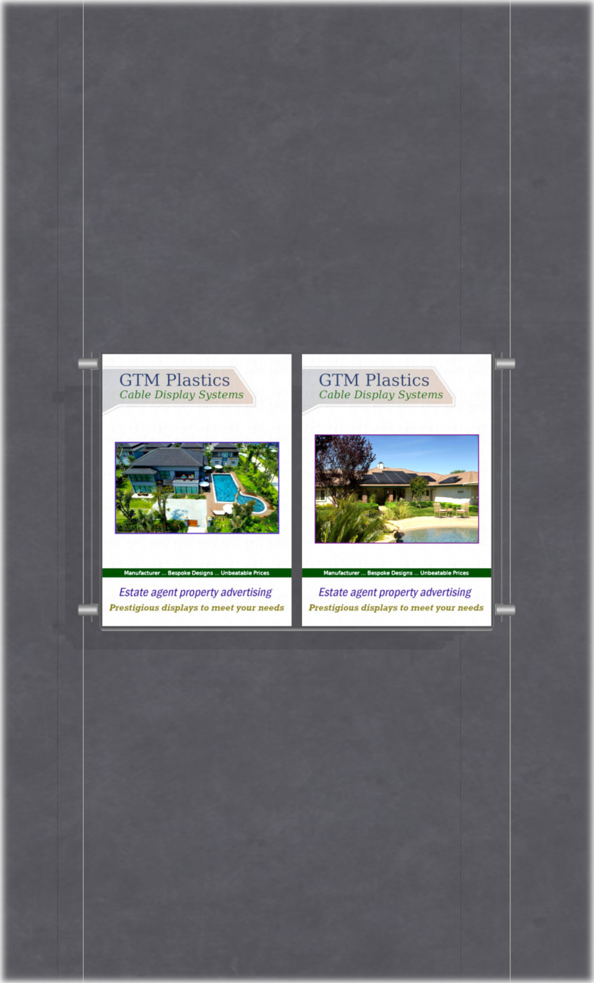 Poster Display - 2x1 Portrait double width pockets - wire suspended poster kit