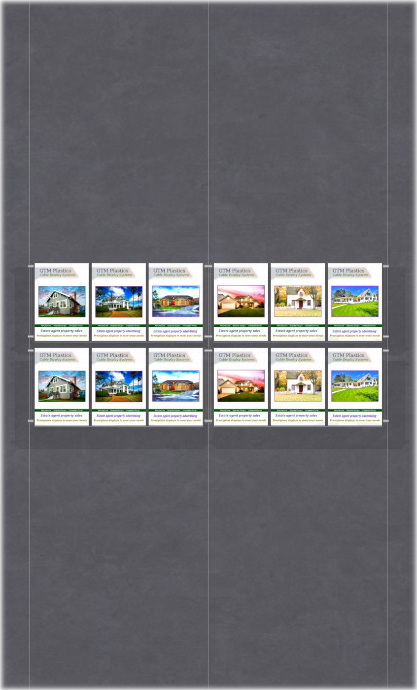 Poster Display - 6x2 Portrait triple width pockets - wire suspended poster kit
