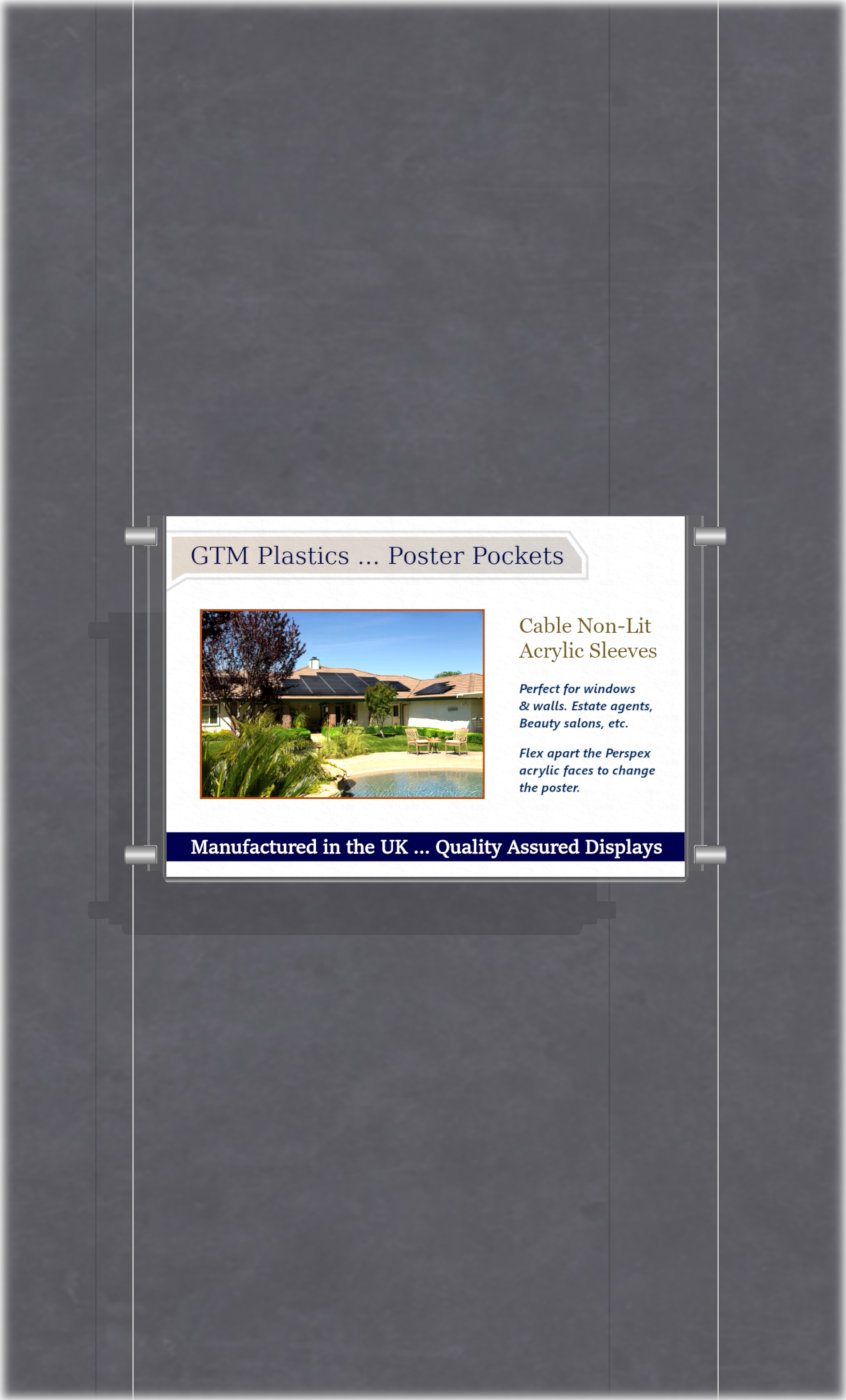 Poster Display - 1x1 Landscape single width pockets - wire suspended poster kit