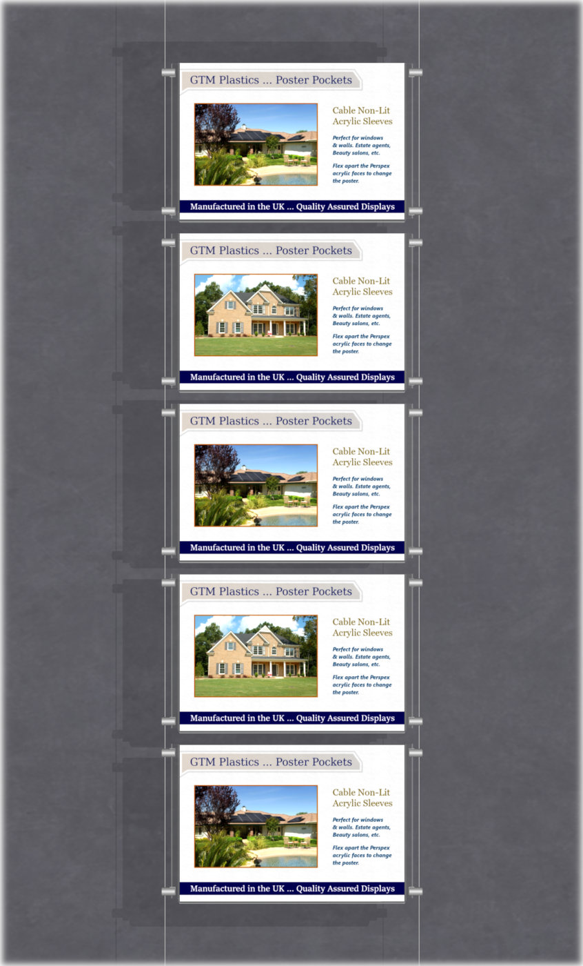 Estate agent hanging poster displays - single width landscape pocket style - Layout: 1x5 assembled between cable wires