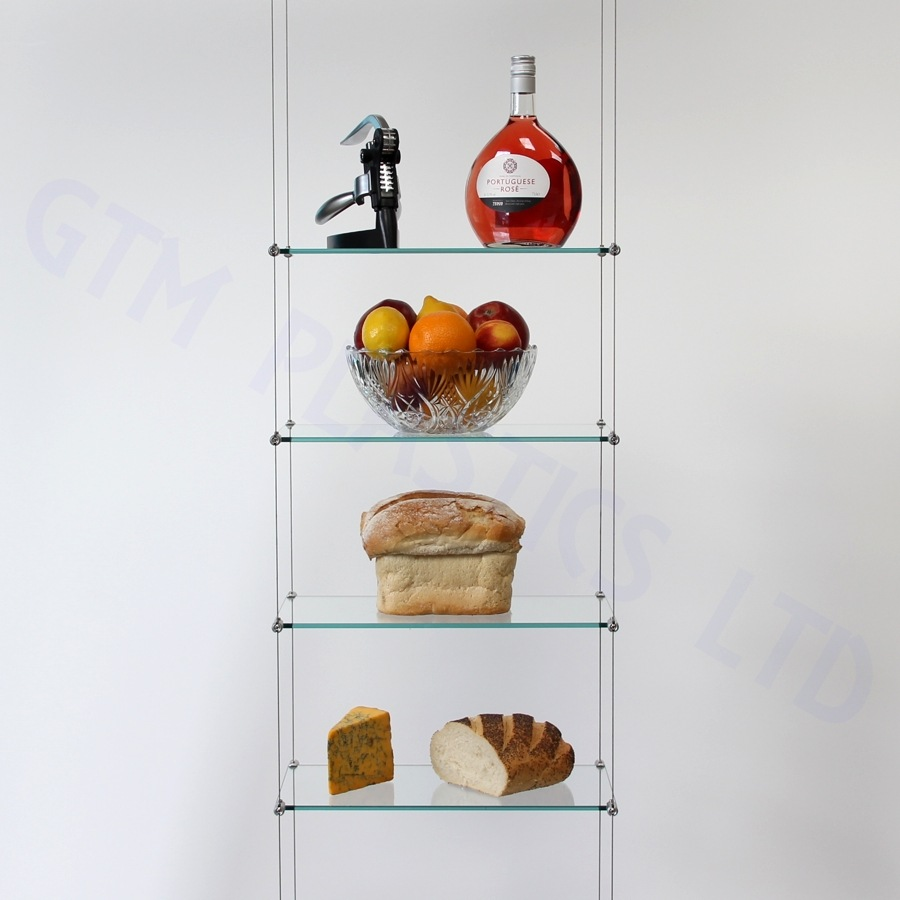 Cable display shelving - 4 Glass shelves
