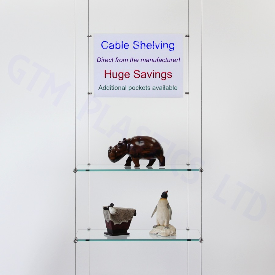 Wire hanging glass shelves with an optional poster holder between the cables