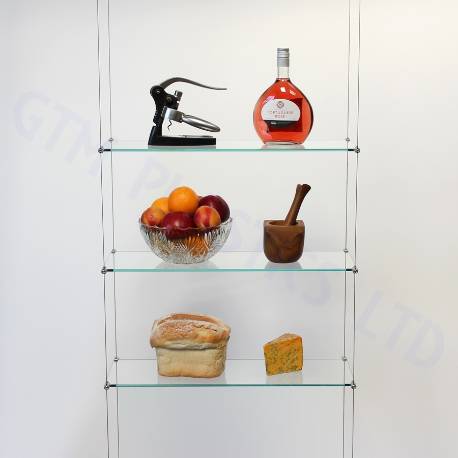 Cable display shelving - 3 Glass shelves