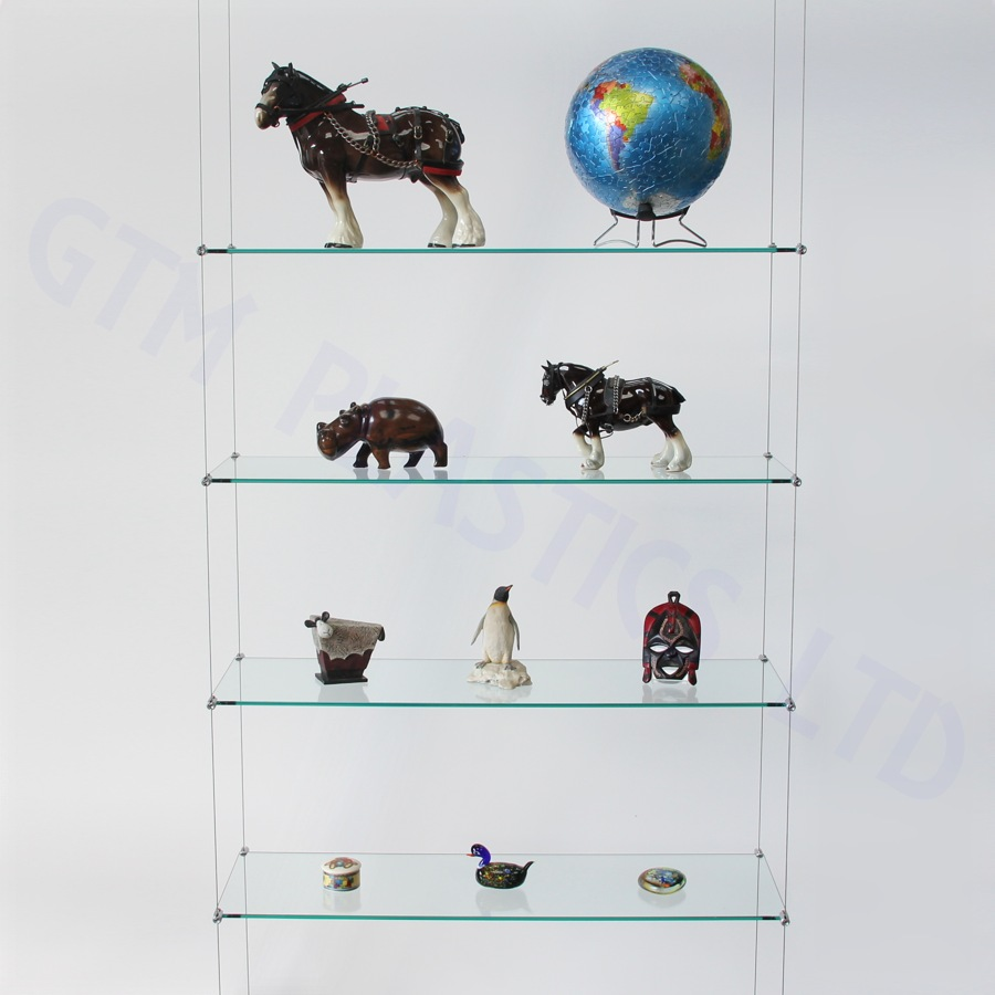 Cable display shelving - 5 Glass shelves