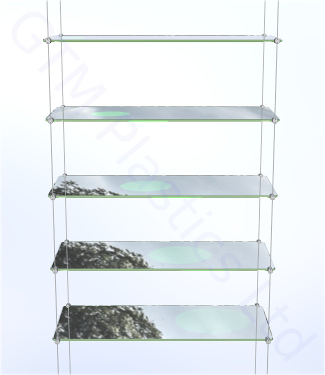 Cable display shelving - 5 Acrylic shelves
