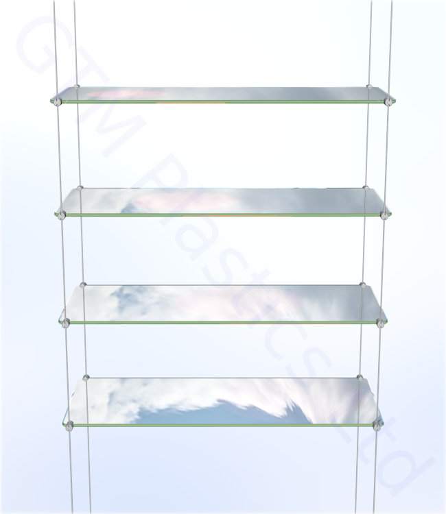 Cable display shelving - 4 Acrylic shelves