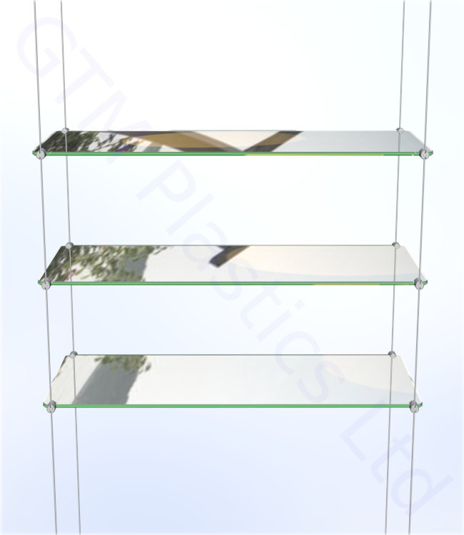 Cable display shelving - 3 Acrylic shelves