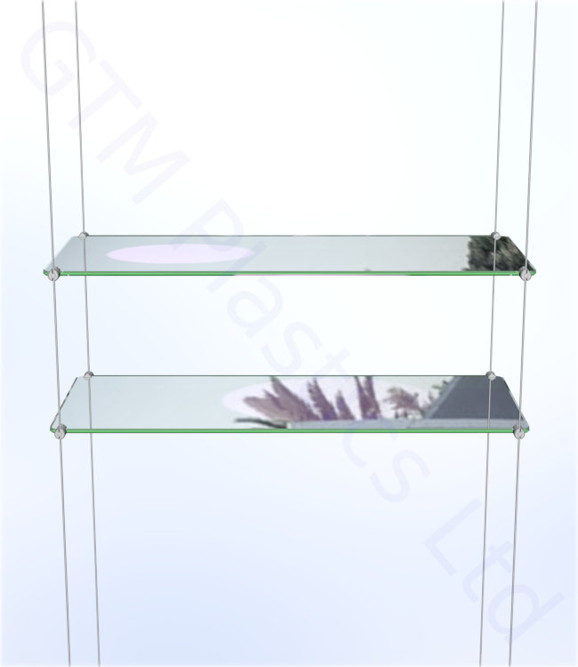 Cable display shelving - 2 Acrylic shelves