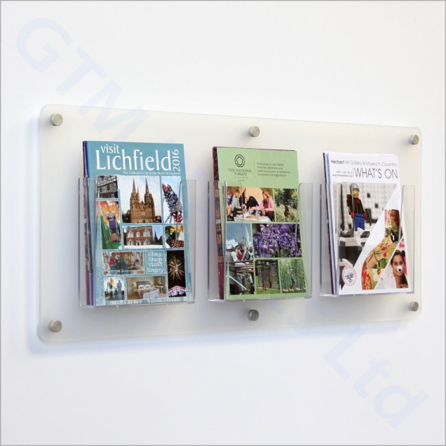 A5 Portrait Leaflet dispensers attached to a frosted acrylic back-panel mounted to the wall
