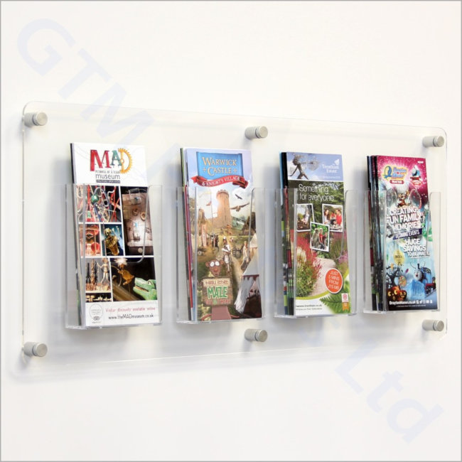 1/3 A4 Leaflet dispensers attached to a clear acrylic back-panel mounted to the wall